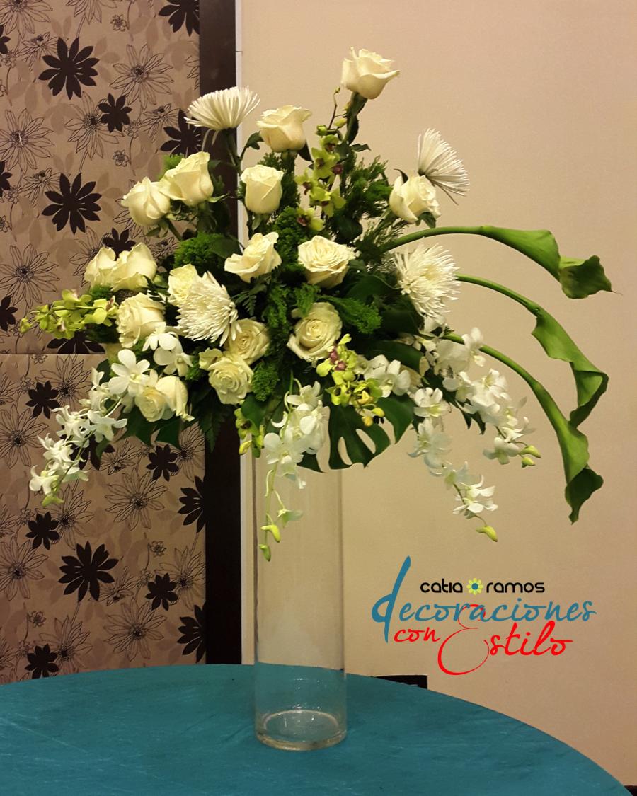 Arreglo floral en color verde y blanco centro mesas - Arreglos florales artificiales para casa ...