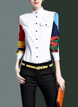 efa9accb497 Llanura Casuales Algodón Cuello Manga larga Camisas de (1032153) @  floryday.com