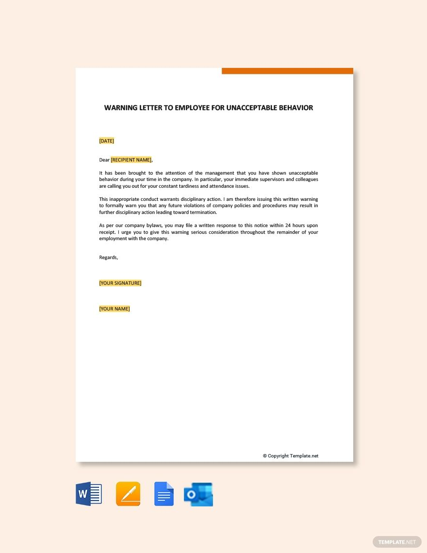 Warning Letter To Employee For Unacceptable Behavior Template Free Pdf Google Docs Word Outlook Apple Pages Template Net Resignation Letter Letter Templates Free Lettering
