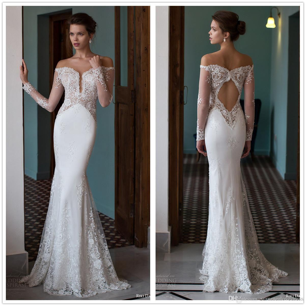 Illusion lace wedding dress  Vintage Illusion Lace Mermaid Wedding Dresses Sheer Long Sleeves