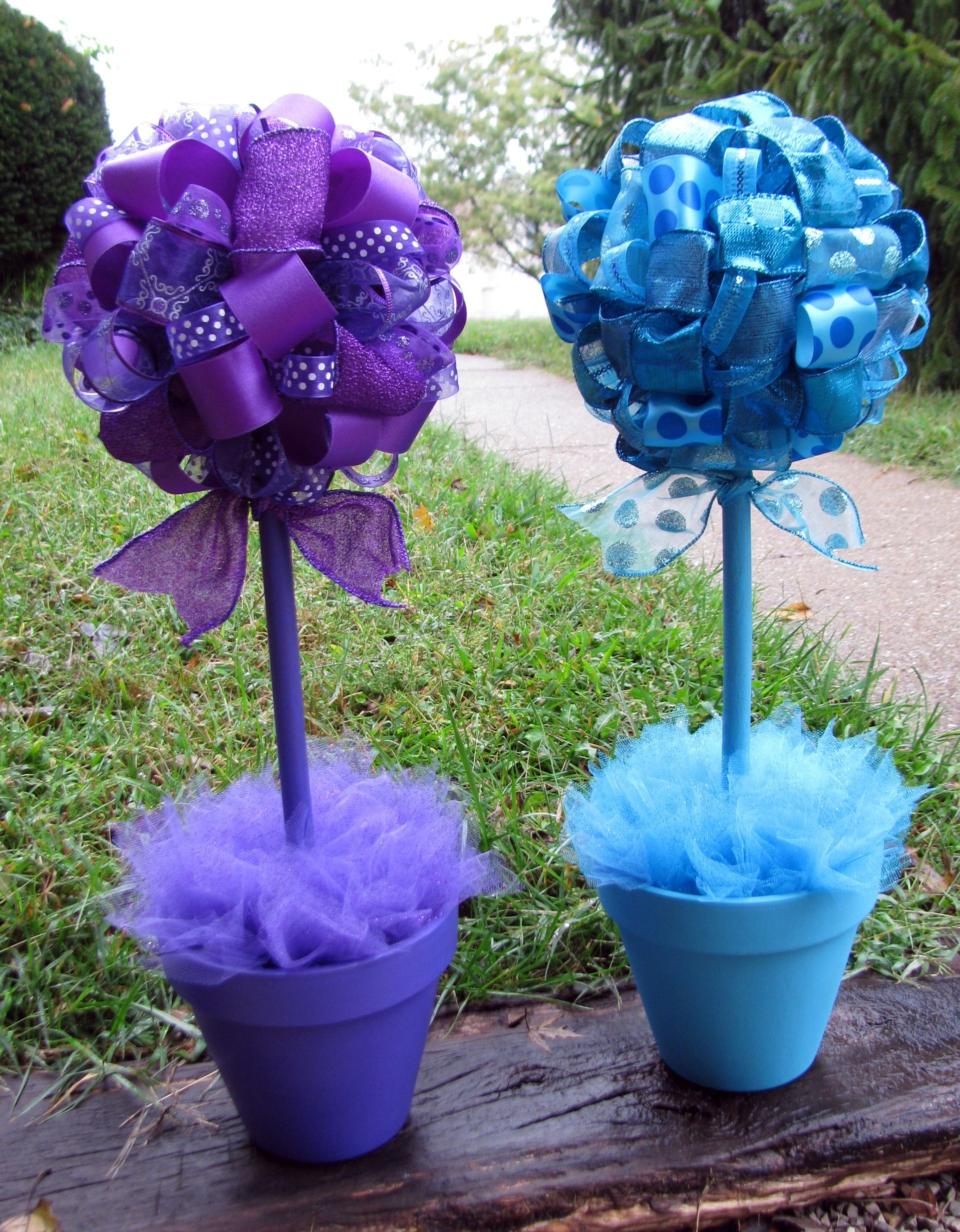 Turquoise and Purple Ribbon Topiaries made by Banana Lala Party
