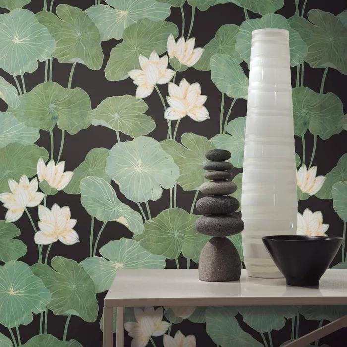 Roommates Lily Pads Peel Stick Wallpaper Black Green Peel And Stick Wallpaper Lily Pads Wallpaper Roll