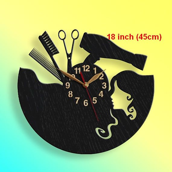 BIG Wood Wall Clock Beauty Salon, Hair Salon Clock, LARGE Black Wall ...