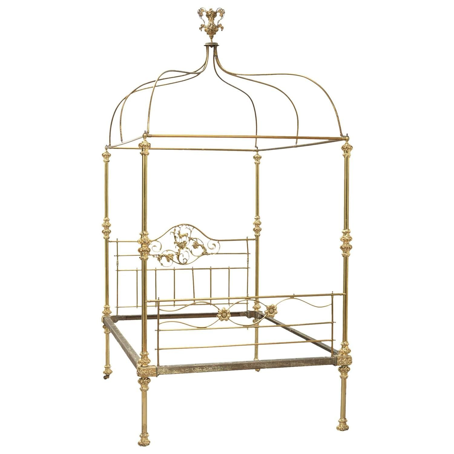 19th Century Victorian Brass FourPoster Canopy Bed from