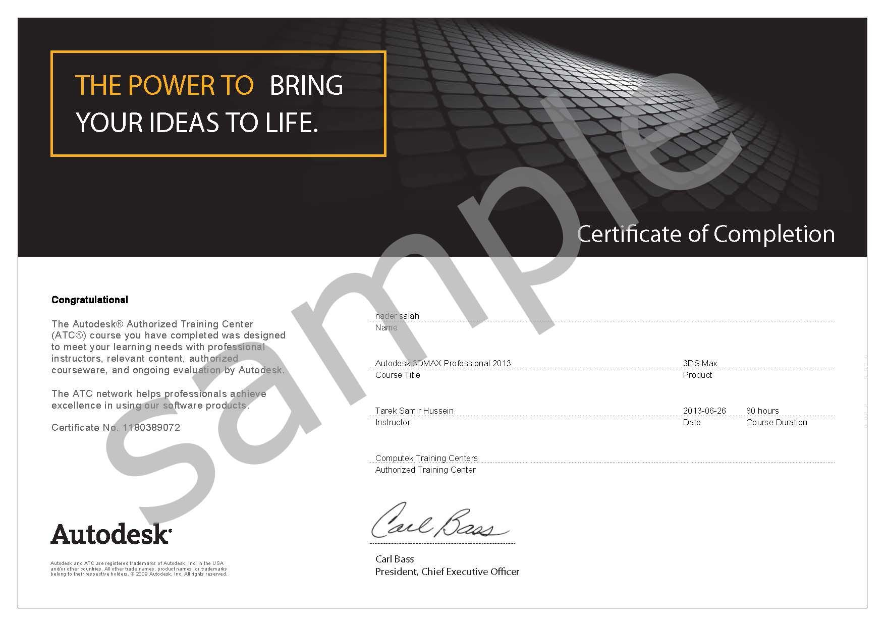 Autodesk certificate of completion sample certs cad pinterest autodesk certificate of completion 1betcityfo Image collections