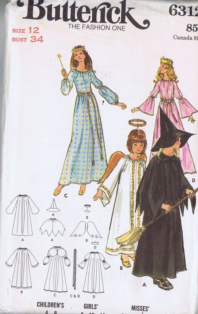 ANGEL PRINCESS COSTUME SEWING PATTERN 6312 BUTTERICK SZ 12 BUST 34 ...