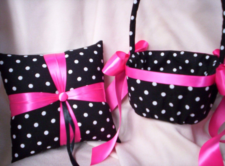 Black White Fuchsia Hot Pink Polka Dot Bridal Wedding Ring Bearer ...