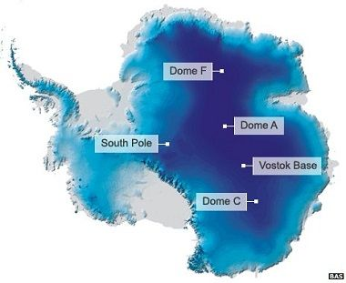 The domes on the high plateau are connected by almost imperceptible ridges... Antarctica; one of the coldest places on Earth.