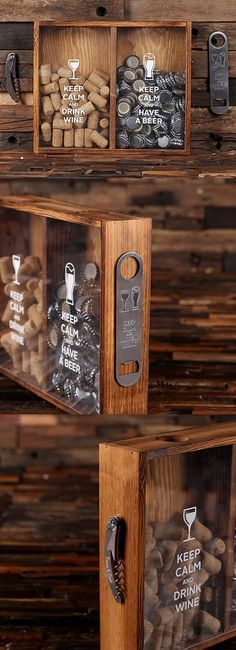 Soporte para corcho de vino «Keep Calm» y soporte para tapa de cerveza Shadow Box | Regalos personalizados y favores de fiesta