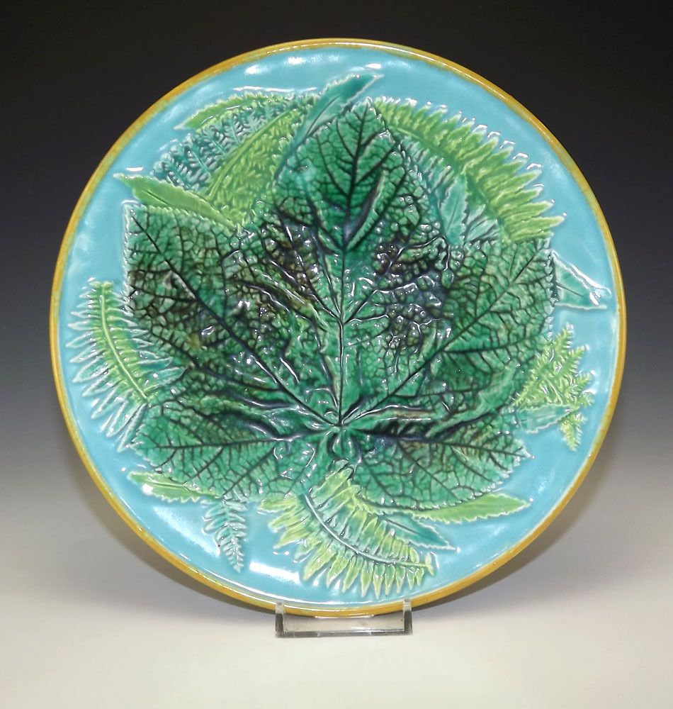 Antique Minton George Jones Majolica - Leaf Decorated Plate