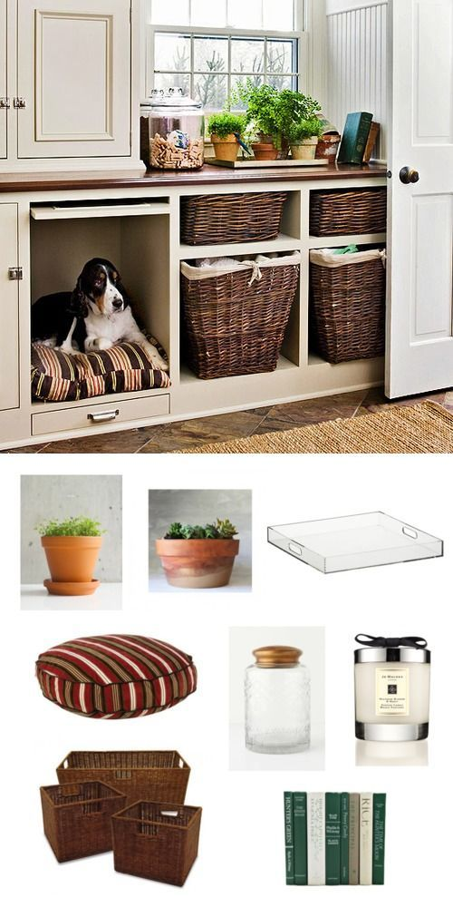 Turn a shelving unit into a cubby for your puppy, making sure to match the pet bed fabric with the rest of your look.