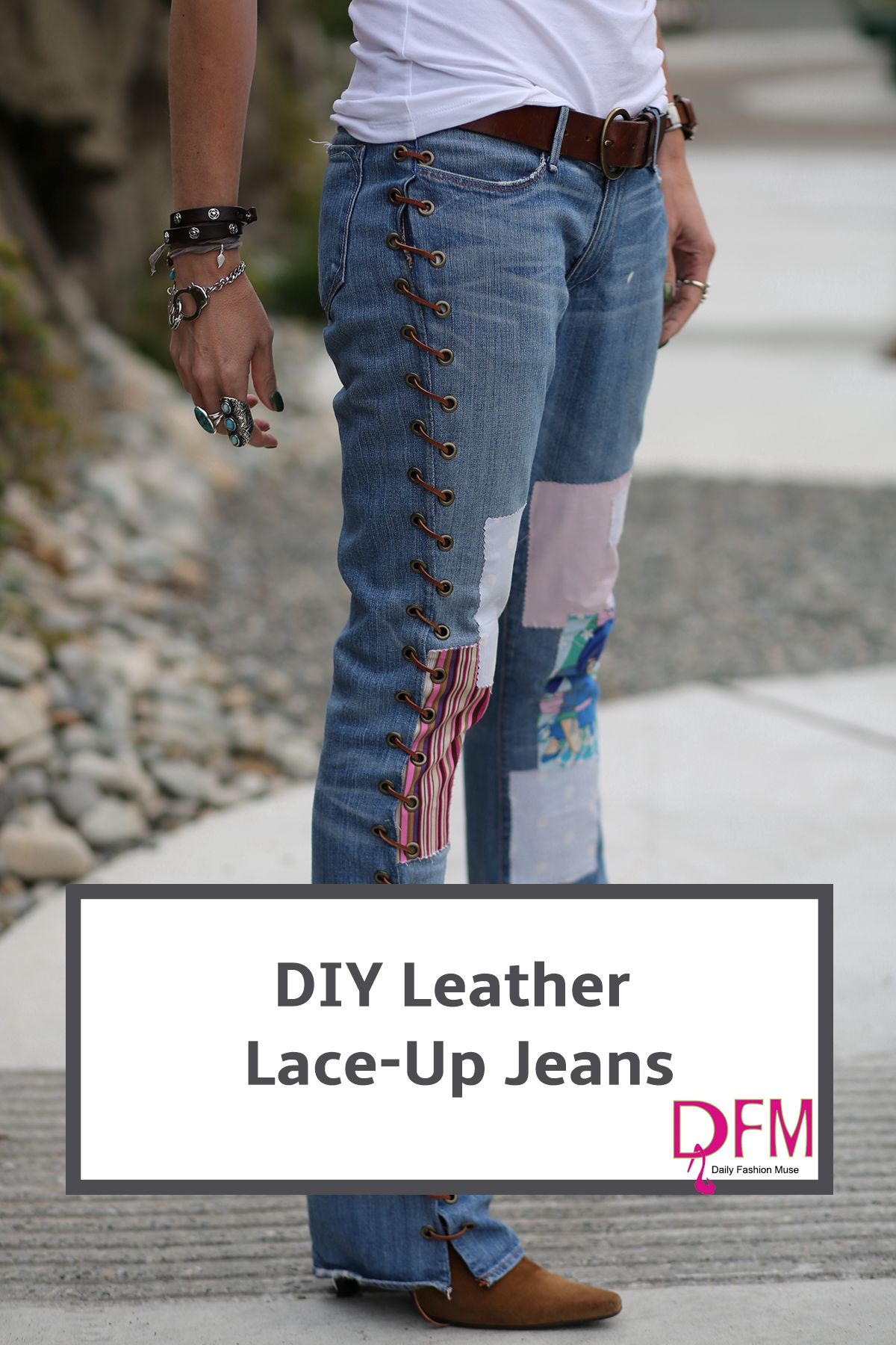 Diy Jeans Leather Lace Up Denim Daily Fashion Muse Jeans Diy Upcycle Jeans Denim Ideas
