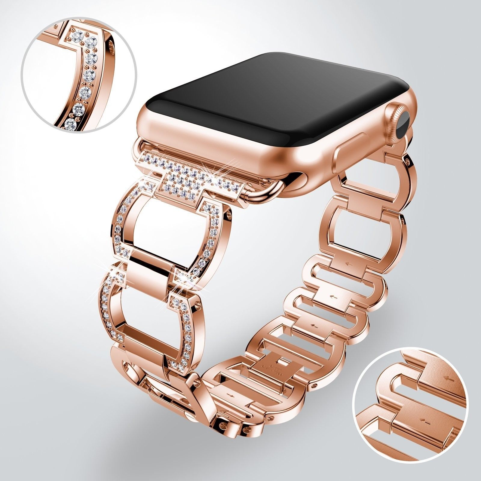 Ghim Tren 42 38 Mm Apple Watch Replacement Stainless Steel Wrist Band Strap Iwatch Rose Gold