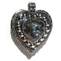 Beautiful Sterling Silver heart Prayer Box with Blue Topaz.  Hidden compartment! No chain.
