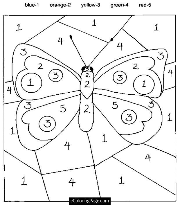 Colour By Numbers Worksheets For Kids Butterfly Coloring Page