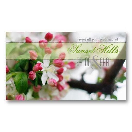 Calming   Pretty Salon  Spa Floral Business Cards