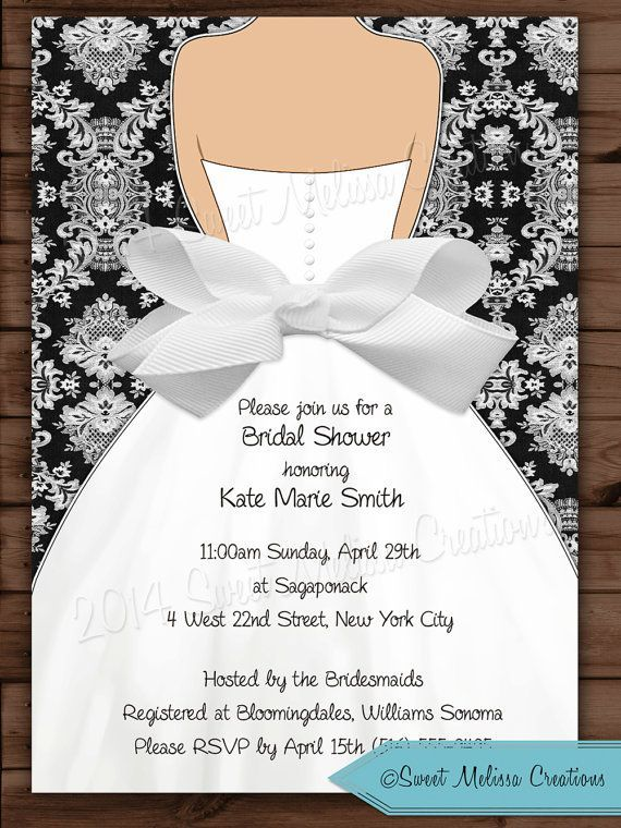 Damask Bow Bridal Shower Invitation Wedding Invitation Black