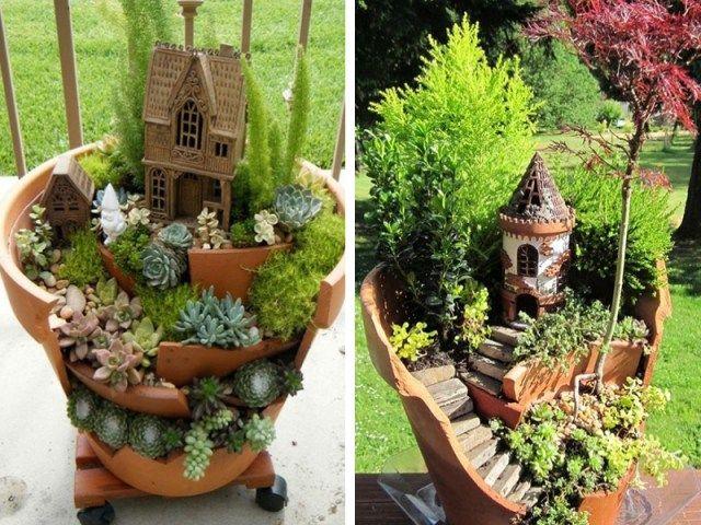 Recyclage : Créer des mini-jardins dans des pots cassés ...