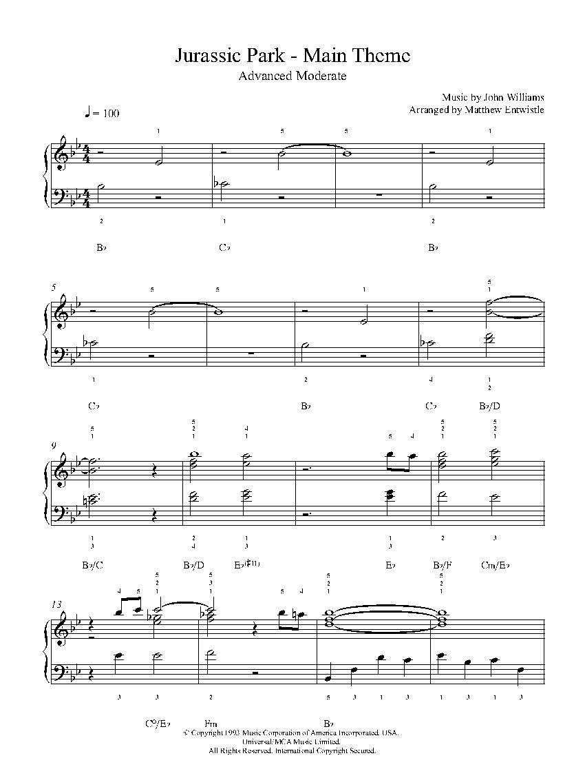 Jurassic Park Theme By John Williams Piano Sheet Music Advanced