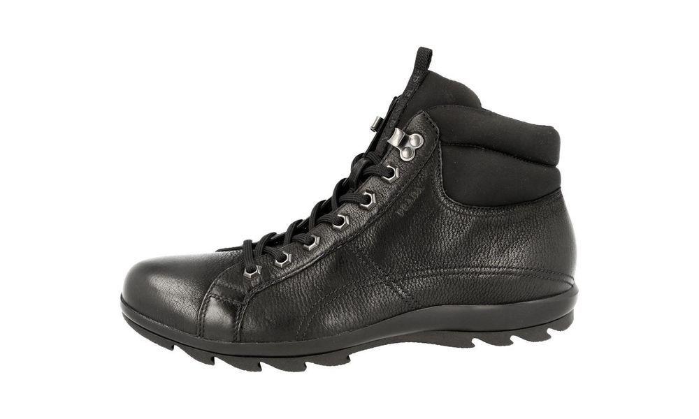 61bd7bf71866 Prada Men s Black Lugged Capra Vintage Leather Nylon Hiking Boots Size 12   PRADA  HikingTrail