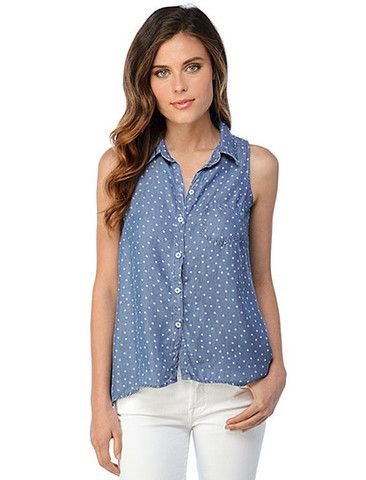 Splendid Dtizy Chambray Tank. Stylish chambray denim fabric in a perfect polka dot print with pocket detail at chest. Everything demin, shirts, tanks, dresses, shorts, etc. are in this spring! Available in store and online at pinnaclemalibu.com
