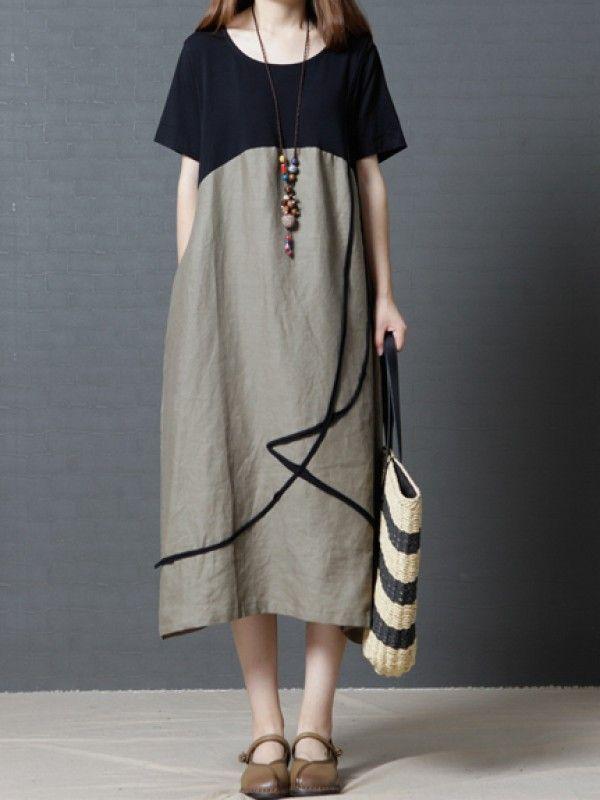 夏にぴったり オリジナル 大きいサイズ ゆったり 切り替えし リネン ワンピース ロング ワンピース カジュアル ワンピース 大人ワンピース ワンピース 服 ファッション