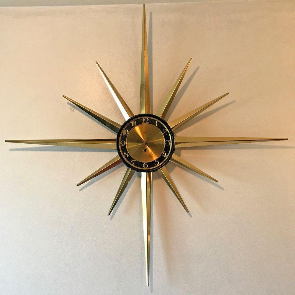 Vintage Mcm Verichron 8 Day Starburst Wall Clock 38 Quot Wind