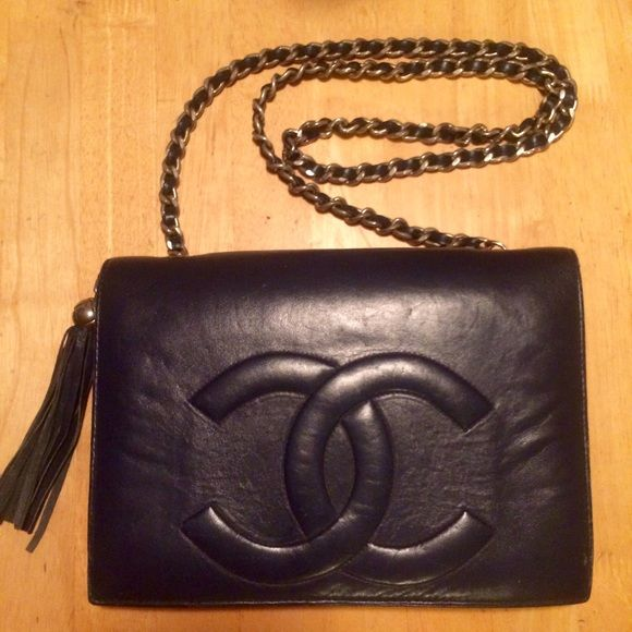 4d650a7ab7bd Vintage Chanel Lambskin Tassel Flap Purse Beautiful, very soft black supple  leather, vintage early