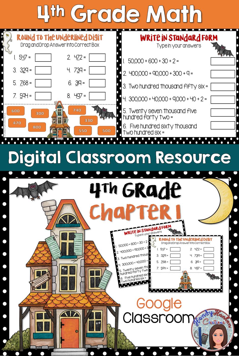 Halloween 4th Grade Math Chapter 1 Google Drive Resource