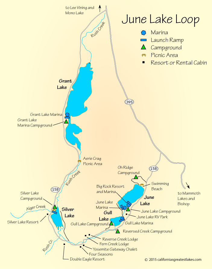 Map Of June Lake CA Camping RV IdeasOrganization Pinterest - Lakes in california map