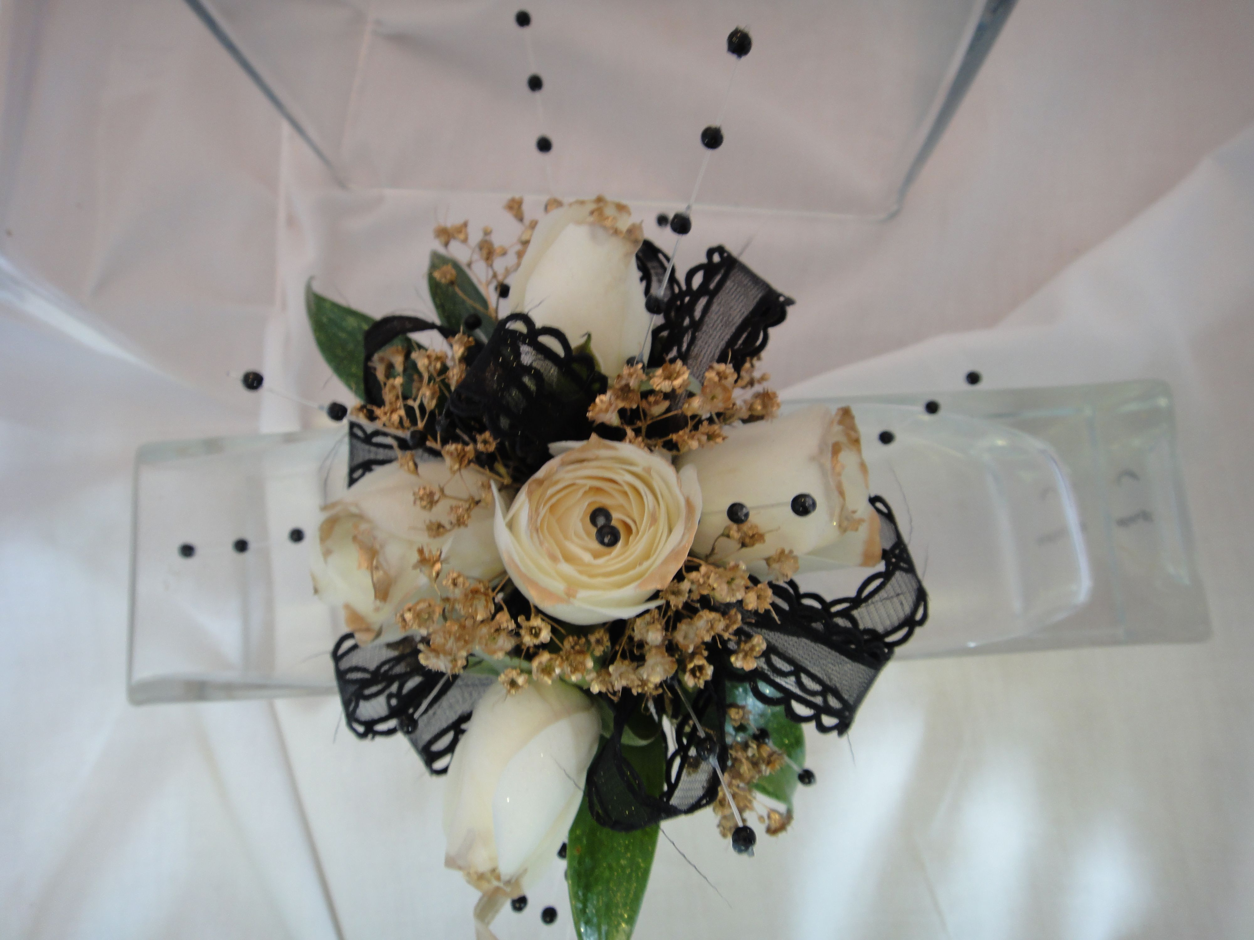 Black white and gold ribbon wrist corsage homecoming corsage prom corsage ready to ship