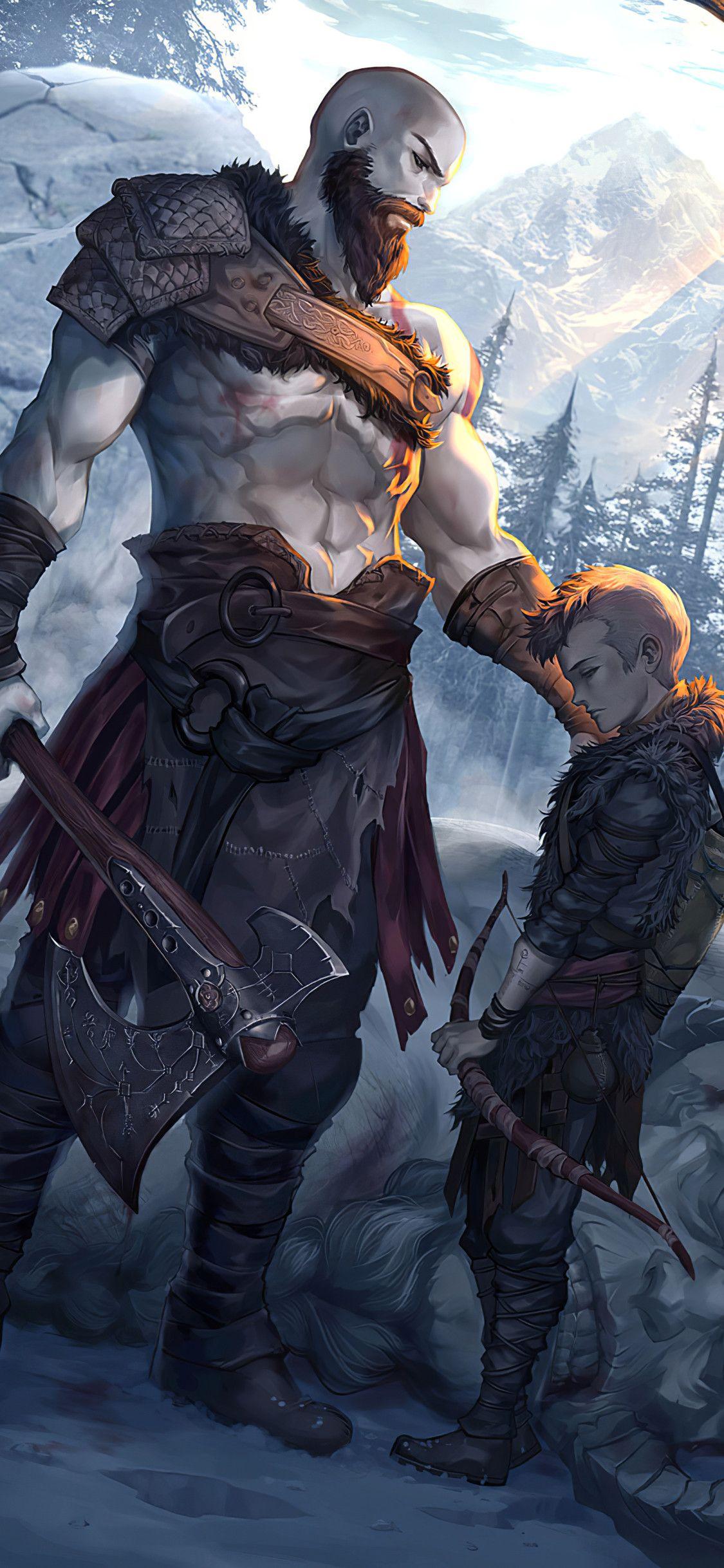 1125x2436 Kratos And Atreus God Of War Art Iphone Xs Iphone 10 Iphone X Hd 4k Wallpapers Images Backgrounds Photos And Kratos God Of War God Of War War Art