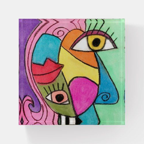 Abstract Face Cubism Big Eyes Bold Lips Bright Paperweight