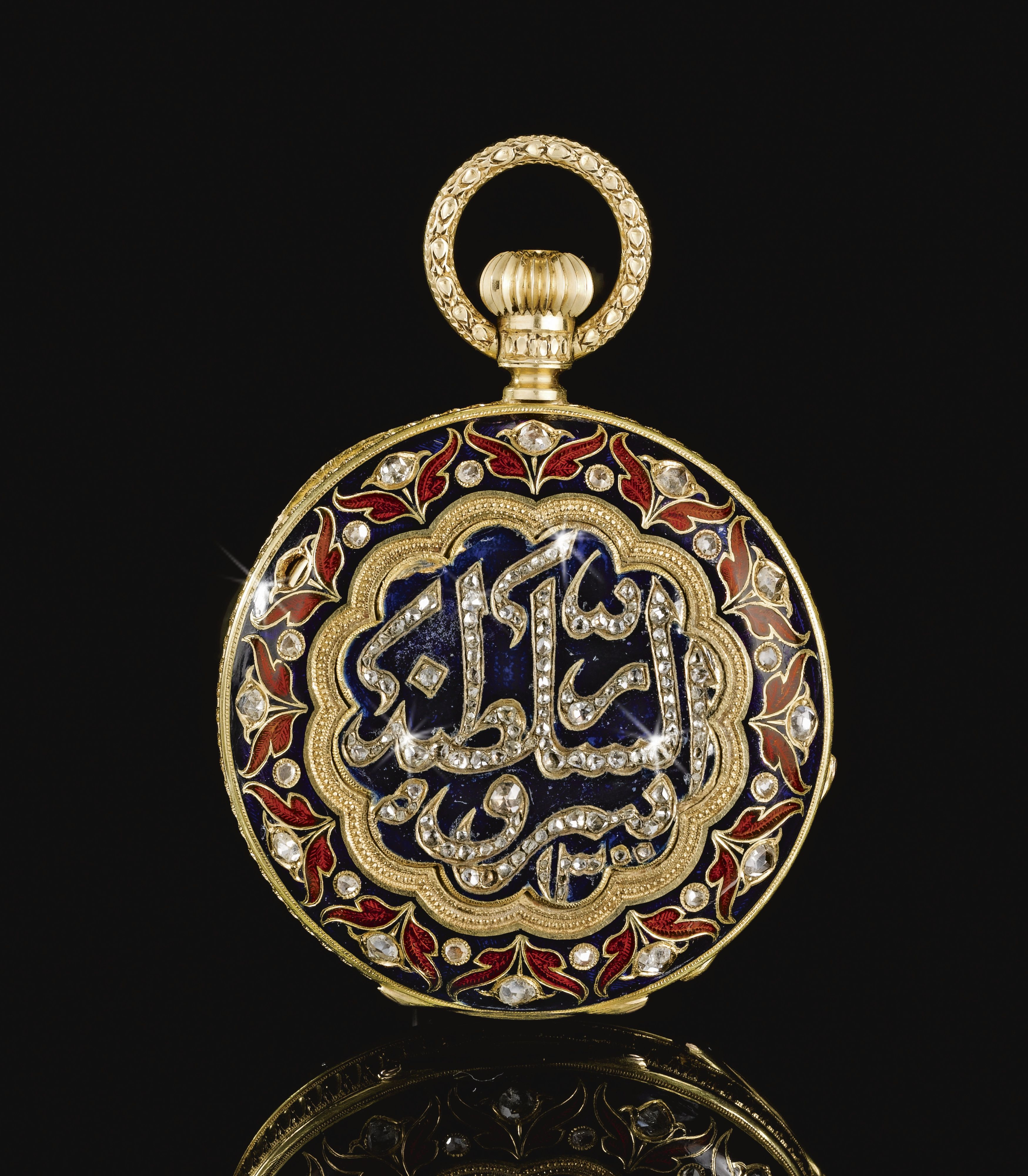 A PATEK PHILLIPPE POCKET-WATCH MADE FOR THE ISLAMIC MARKET DATED 1300 AH/1882 AD, SWITZERLAND the round white enamel dial with Roman numerals, blue steel hour, minute hands, secondary dial, the gilt-metal case engraved and decorated with lapis blue and carnelian red enamels and set with cut-diamonds, each side with a central cusped medallion enclosing a monumental inscription encircled by a border of tulip plants