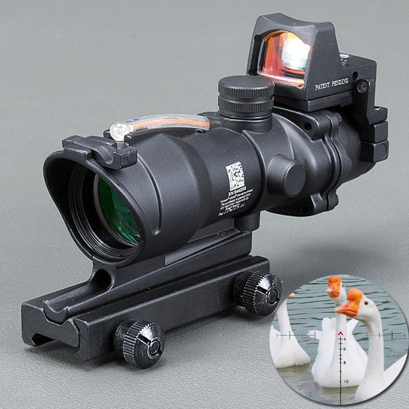 Hunting ACOG Style 4X32 Real Fiber Source Red Crosshair Illuminated Rifle Scope