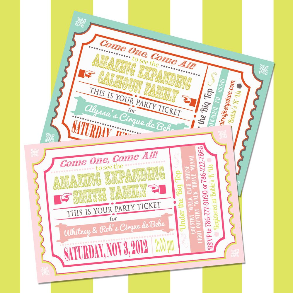 Custom Circus Baby Shower Invitation, Printable Vintage Carnival ...