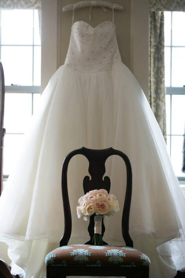 Wedding gown and flowers