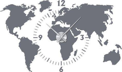 Wandtattoo Uhr Wanduhr Weltkarte Mit Ziffernblatt Und Uhrwerk Büro