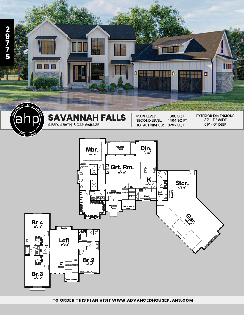 1 5 Story Modern Farmhouse Style House Plan Savannah Falls Farmhouse Style House Plans Farmhouse Style House Modern Farmhouse Plans