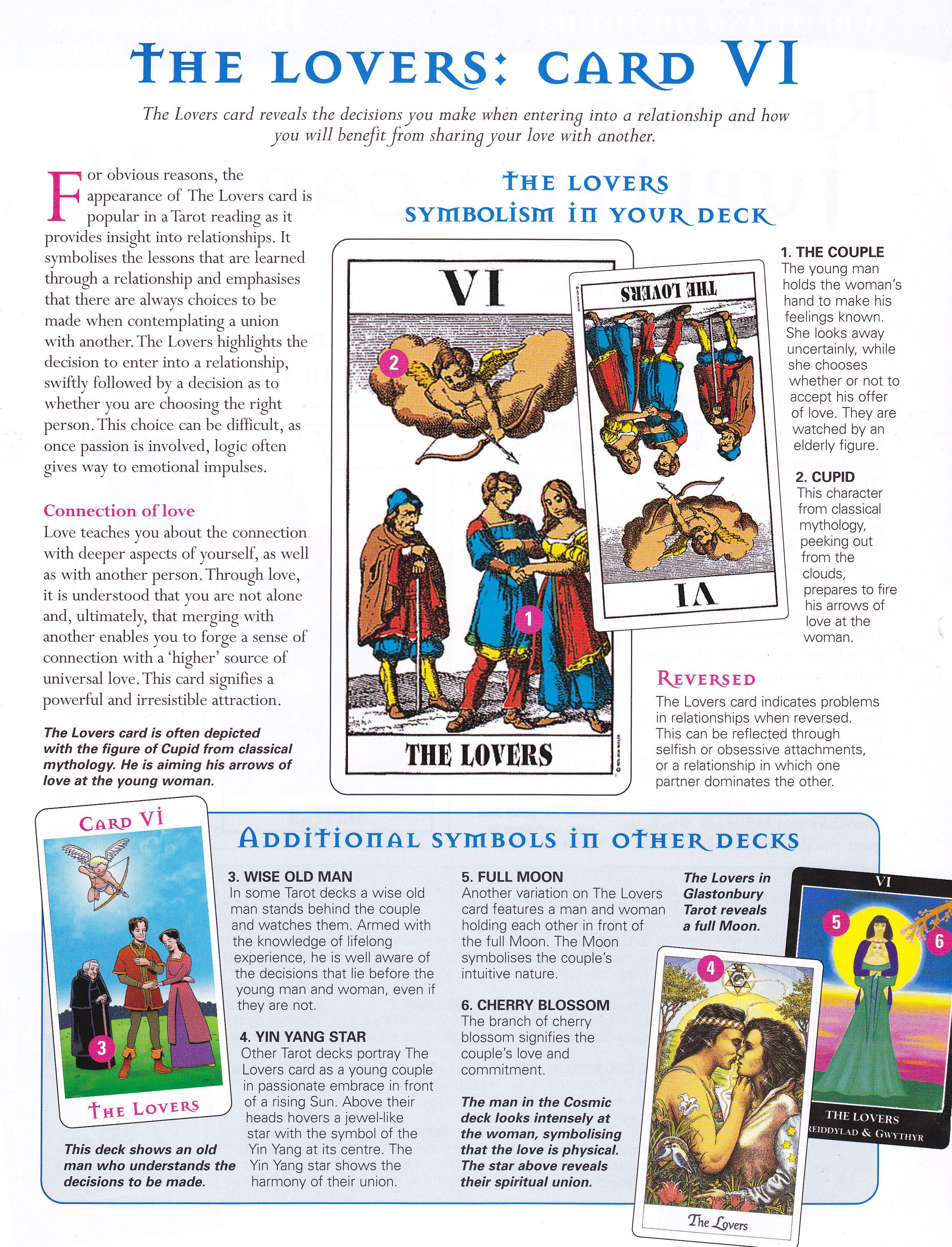 Arcane mysteries the lovers card tarot book tarot