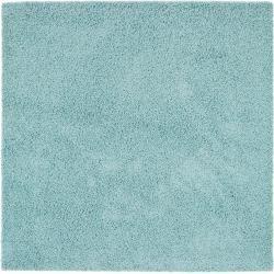 Photo of benuta Essentials Hochflor Shaggyteppich Swirls Hellblau 200×200 cm – Langflor Teppich für Wohnzimme