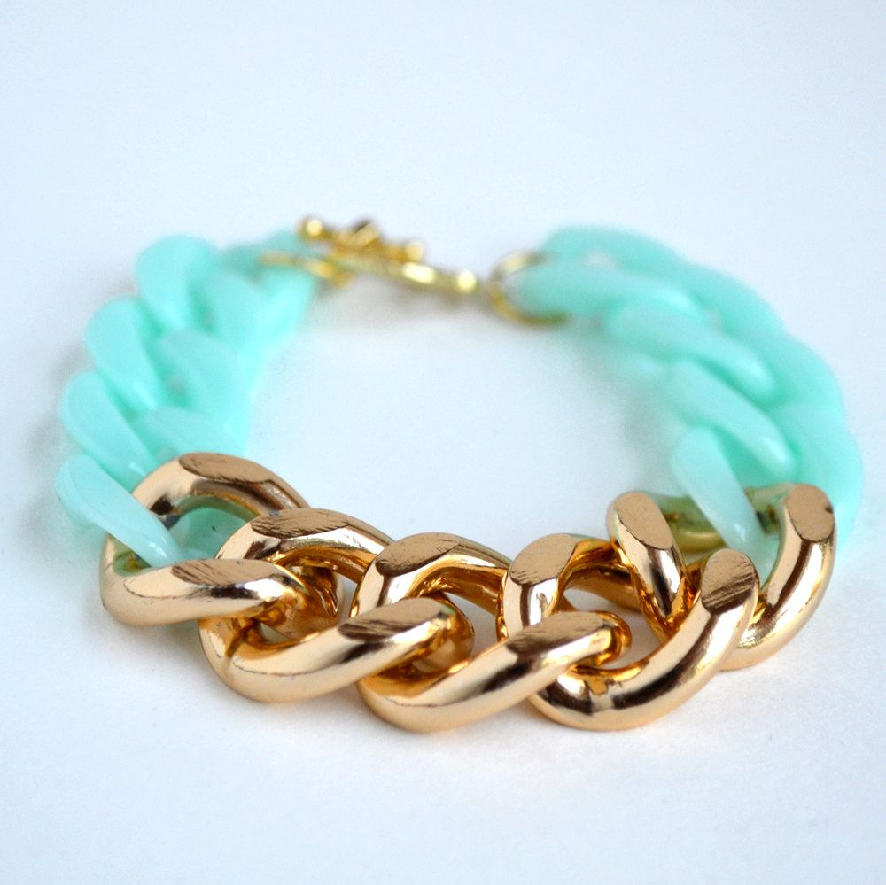 Mint and gold chunky chain bracelet pin your stuff here