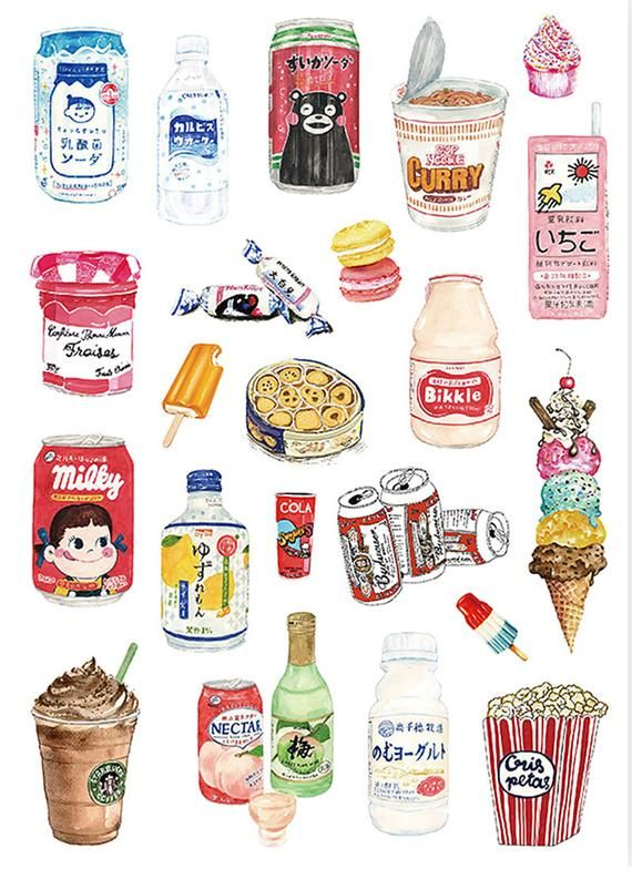 Beverage Sticker,  Snacks Sticker, 22pcs, Laptop S