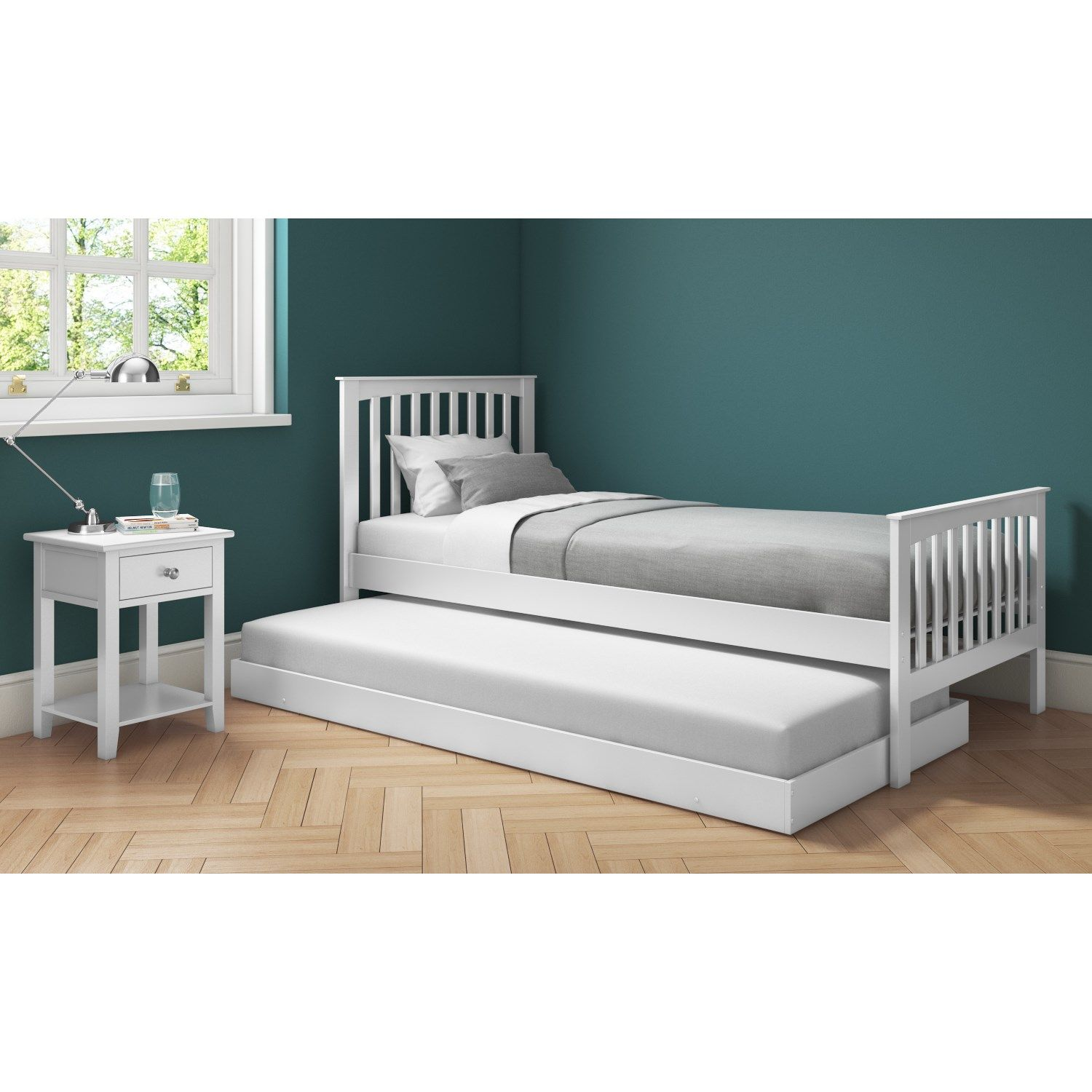 Oxford Single Guest Bed In Pure White Trundle Bed Included