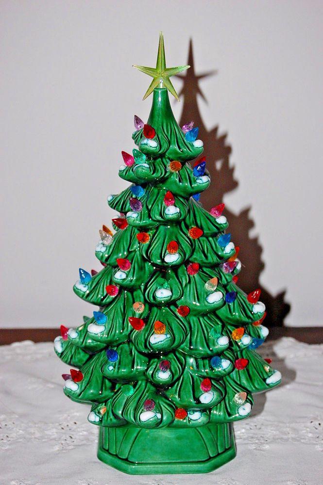 Vintage Ceramic Christmas Tree Multi Color Lighted Holland Mold Snow Flocked 13 Ebay