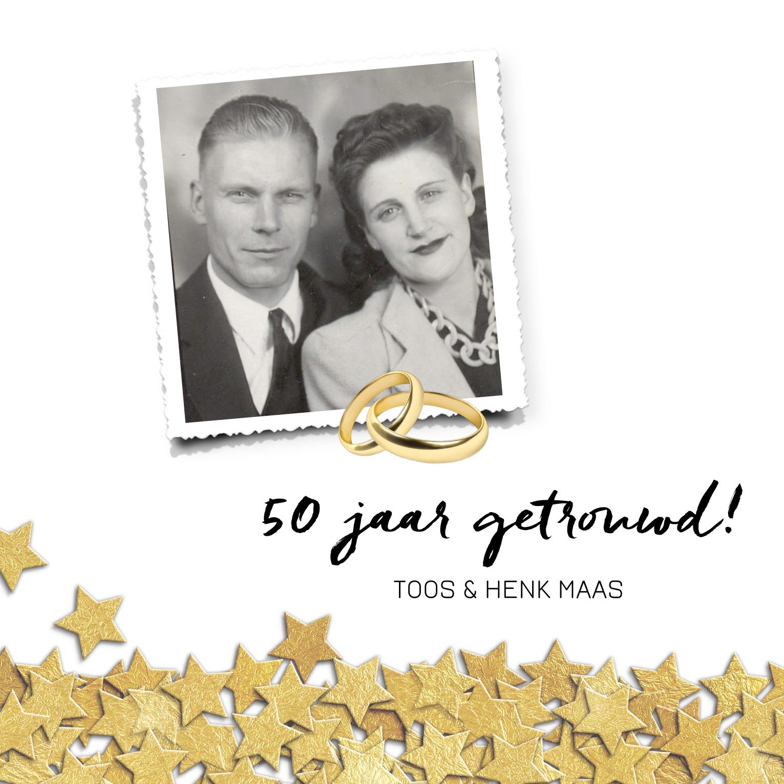 Goede Jubileum kaart 50 jaar getrouwd met gouden ringen (met PS-91