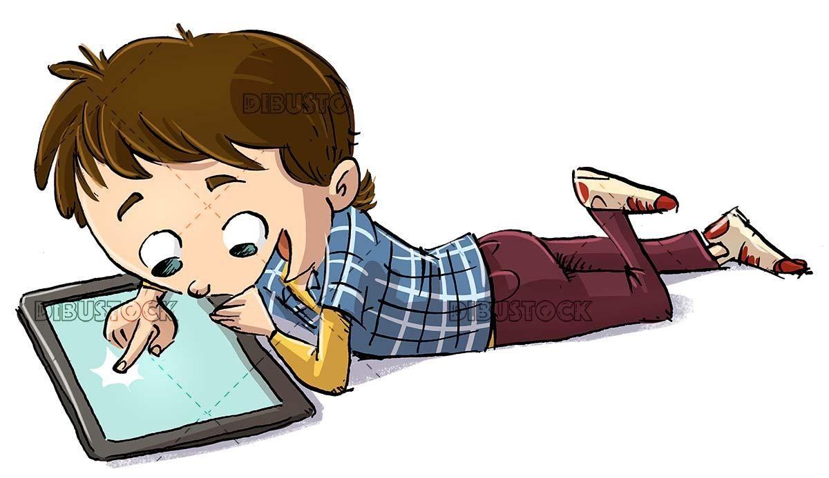 Boy Lying Using A Tablet Con Imagenes Dibujo De Ninos Jugando