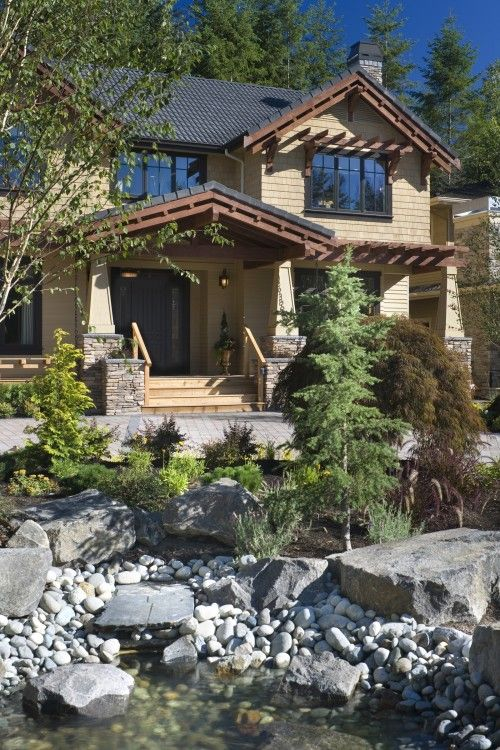 Exterior Of Mudroom Addition In Portland Oregon I Love The Porch: Love The Pergola Detail Over Windows, Stone At Base Of Columns, Landscaping.