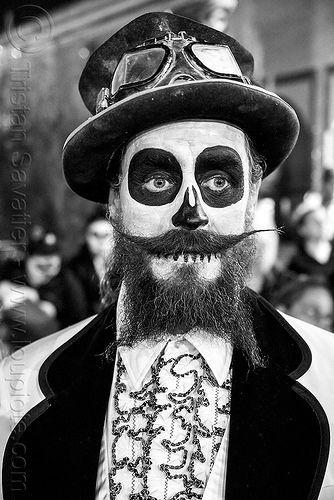 Bearded Man With Skull Makeup Steampunk Costume Dia De Los Muertos