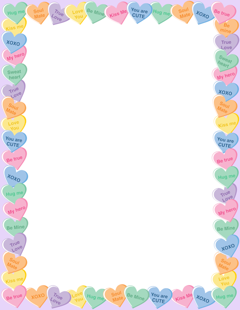 Printable candy heart border. Free GIF, JPG, PDF, and PNG ...